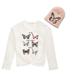 Belle Du Jour Big Girls 2-Pc. Sequined Butterfly Sweatshirt & Beanie Set