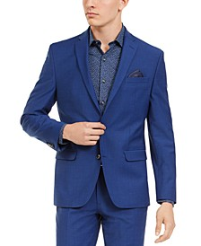 Men's Slim-Fit PerFormance Active Stretch Blue Sharkskin Suit Separate Jacket, Created For Macy's