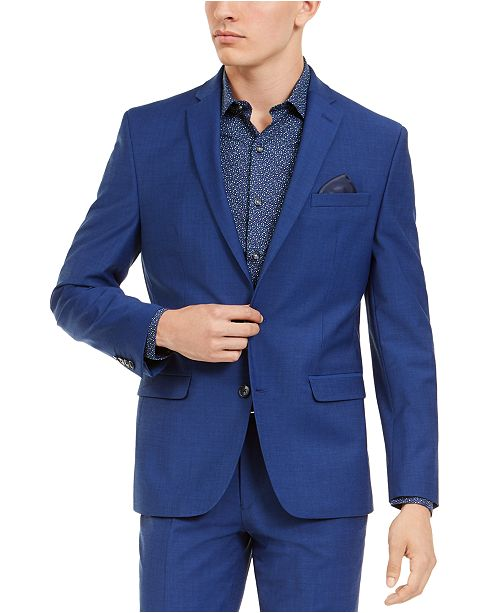 Bar III Men's Slim-Fit PerFormance Active Stretch Blue Sharkskin Suit Separate Jacket, Created For Macy's
