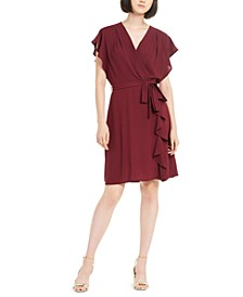 Petite Flutter Wrap Dress