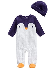 First Impressions Baby Boys 2-Pc. Hat & Footed Penguin Coverall Set, Created For Macy's