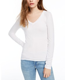 Splendid Ribbed V-Neck Top
