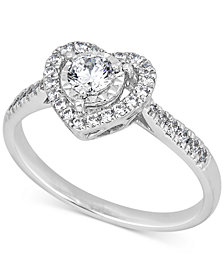 Diamond Heart Halo Ring (1/2 ct. t.w.) in 14k White Gold
