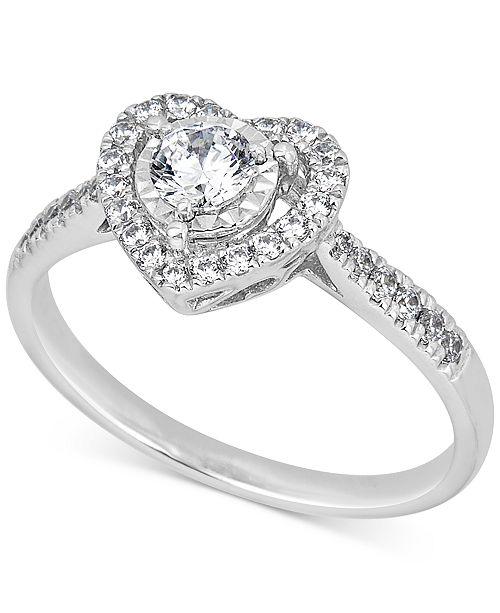 Macy's Diamond Heart Halo Ring (1/2 ct. t.w.) in 14k White Gold