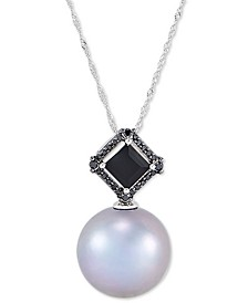 "Cultured Grey Ming Pearl (13mm), Black Diamond (1/10 ct. t.w.) & Onyx (7mm) 18"" Pendant Necklace in 14k White Gold"