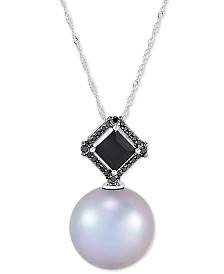 """Honora Cultured Grey Ming Pearl (13mm), Black Diamond (1/10 ct. t.w.) & Onyx (7mm) 18"""" Pendant Necklace in 14k White Gold"""