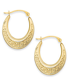 10k Gold Earrings, Greek Key Hoop Earrings