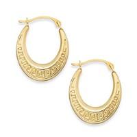 Macy's 10k Gold Earrings, Greek Key Hoop Earrings