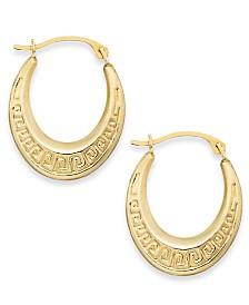 10k Gold Earrings, Greek Key Hoop Earrings