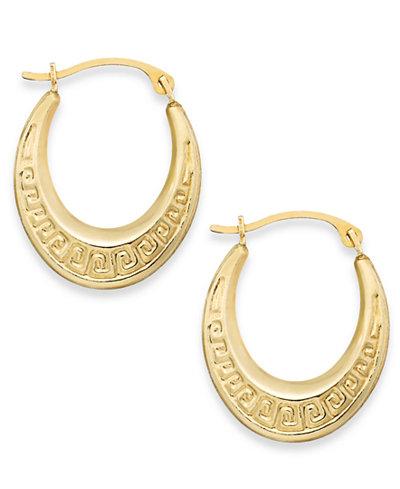 10k Gold Earrings Greek Key Hoop