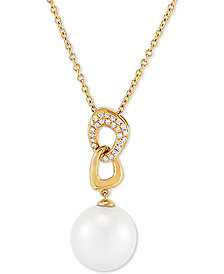 "Honora Cultured White Ming Pearl (13mm) & Diamond (1/6 ct. t.w.) 18"" Pendant Necklace in 14k Gold"