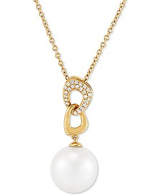 """Honora Cultured White Ming Pearl (13mm) & Diamond (1/6 ct. t.w.) 18"""" Pendant Necklace in 14k Gold"""