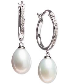 Cultured Freshwater Pearl (7 x 9mm) & Diamond (1/10 ct. t.w.) Hoop Drop Earrings in Sterling Silver
