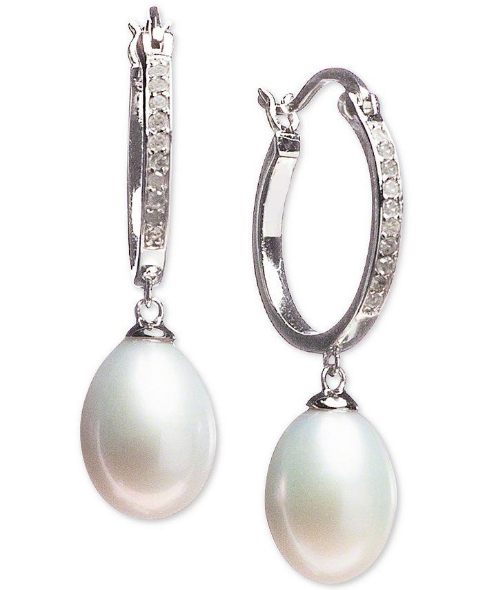 Macy's - Cultured Freshwater Pearl (7 x 9mm) & Diamond (1/10 ct. t.w.) Hoop Drop Earrings in Sterling Silver