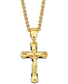 "Diamond Accent Cross 24"" Pendant Necklace in Yellow Ion-Plated Stainless Steel"