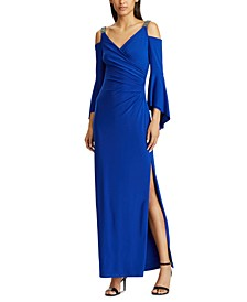 Cold-Shoulder Evening Gown
