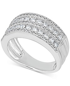 Diamond Multi-Row Milgrain Edge Band (1 ct. t.w.) in 14k White Gold