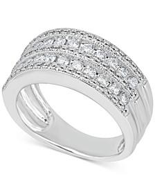 Diamond Multi-Row Milgrain Edge Band (1 ct. t.w.) in 14k White Gold