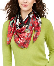Charter Club Poinsettia Plaid Square Scarf, Created for Macy's