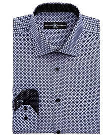 Men's Slim-Fit Performance Black Geometric Dot Dress Shirt