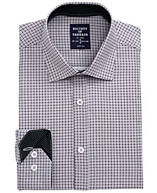 Men's Slim-Fit Non-Iron Performance Stretch Black Check Dress Shirt
