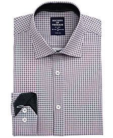 Society of Threads Men's Slim-Fit Non-Iron Performance Stretch Black Check Dress Shirt