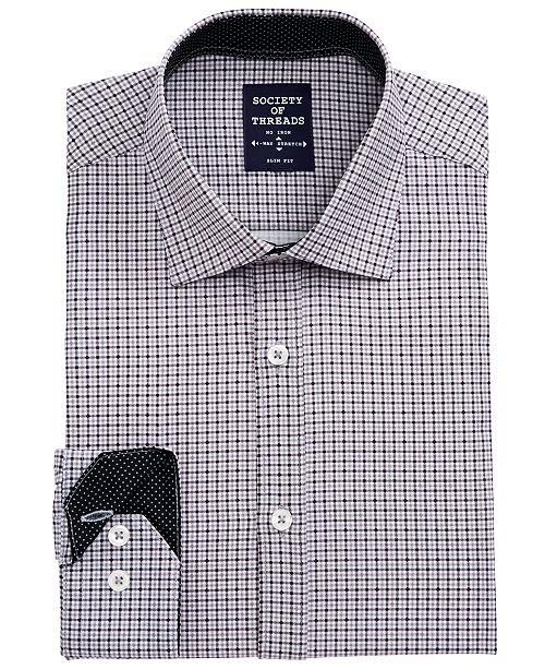 Society of Threads Men's Slim-Fit Non-Iron Performance Stretch Black Check Dress Shirt