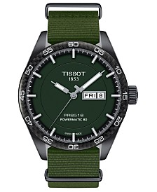 LIMITED EDITION Tissot Swiss T-Sport Powermatic 80 Green Fabric Strap Watch 42mm, Created for Macy's