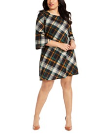 Jessica Howard Plus Size Plaid A-Line Dress
