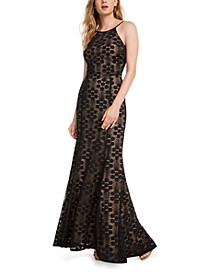 Juniors' Lace-Up Lace Gown