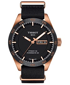 LIMITED EDITION Swiss T-Sport Powermatic 80 Rose Gold-Tone and Black Fabric Strap Watch 42mm, Created for Macy's