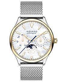 Movado Women's Swiss Heritage Celestograf Stainless Steel Mesh Bracelet Watch 36mm
