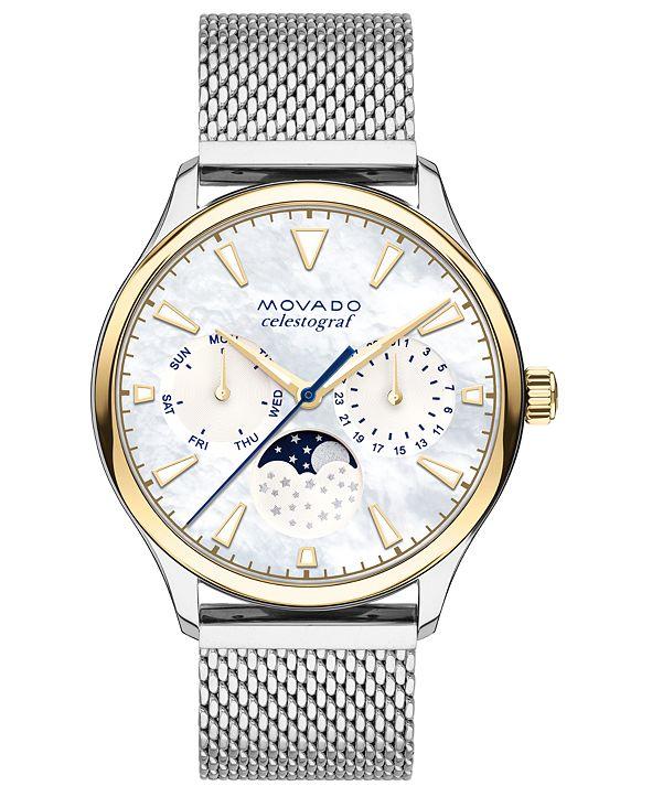 Movado Women's Swiss Heritage Celestograf Stainless Steel Mesh Bracelet Watch 36mm