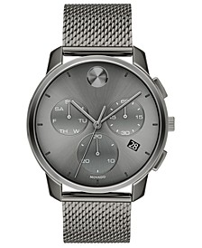 Men's Swiss Chronograph Bold Gray Ion-Plated Stainless Steel Mesh Bracelet Watch 42mm