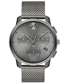Movado Men's Swiss Chronograph Bold Gray Ion-Plated Stainless Steel Mesh Bracelet Watch 42mm