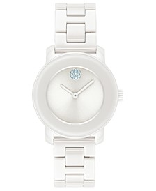Women's Swiss Bold White Ceramic Bracelet Watch 31mm