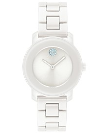 Movado Women's Swiss Bold White Ceramic Bracelet Watch 31mm