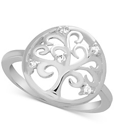 Essentials Crystal Tree Circle Ring in Fine Silver-Plate