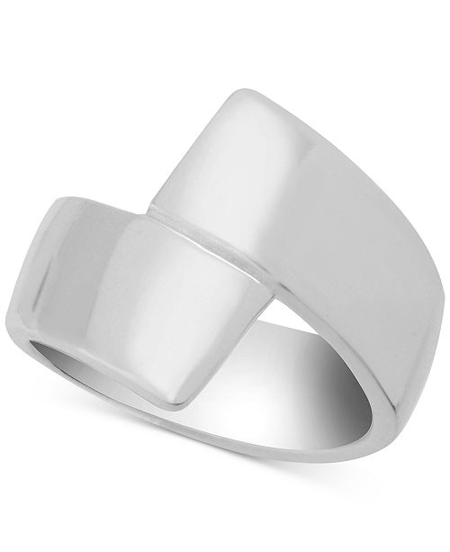 Essentials Polished Bypass Ring in Fine Silver-Plate