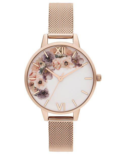 Olivia Burton Women's Rose Gold Ion-Plated Stainless Steel Mesh Bracelet Watch 34mm