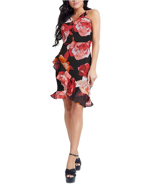GUESS Kersten Floral-Print Ruffle-Hem Dress