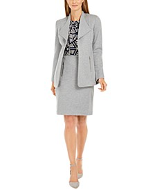 Open-Front Jacket, Printed Pleat-Neck Top & Zip-Pocket Pencil Skirt