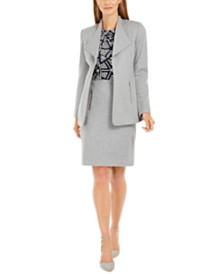Calvin Klein Open-Front Jacket, Printed Pleat-Neck Top & Zip-Pocket Pencil Skirt