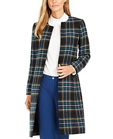 Plaid Open-Front Topper Jacket