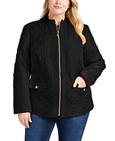 Plus Size Quilted Mandarin-Collar Jacket, Created for Macy's