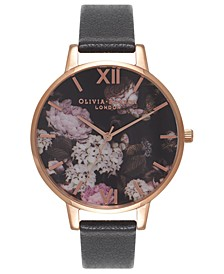 Women's Signature Floral Black Leather Strap Watch 38mm