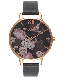Olivia Burton Women's Signature Floral Black Leather Strap Watch 38mm