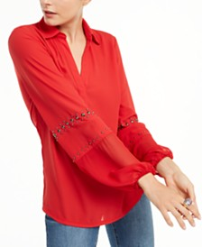 I.N.C. Studded Woven Top, Created for Macy's