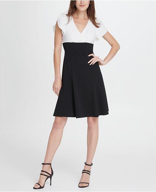 DKNY Colorblock Tulip Sleeve Fit  Flare Dress