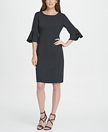 Pinstripe Flare Sleeve Sheath Dress